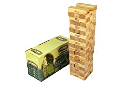 Wooden garden tumbling tower Take it in turns to remove one brick at a time and put it on the top Be careful not to be the one to bring the tower down Great for garden parties Fully built, the tower stands approximately 75 cm tall