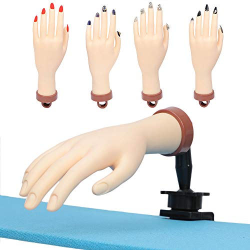 Practice Hand for Nails, Fake Hand for Nails Practice, Nail Art Training Hand, Flexible Bendable Mannequin Hand, Professional Nail Art Trainer Manicure Practice Hand 1Pc … (White Hand)