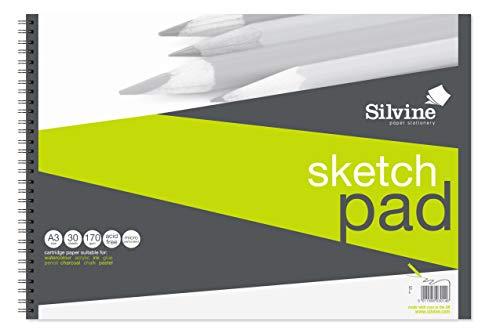 Silvine Skizzenblock mit Spiralbindung 170 g/m² A3 170 g/m²