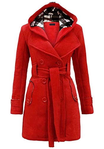 YMING Womens Casual Peacoat with Hood Winter Outwear Belted Jacket Double-Breasted Wool Blend Pea Coat Red L