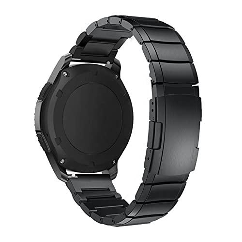 HPTQJ Edelstahl-Brazalete para S3 Watch 42 46mm Amajefit BIP Pace Motor 360 Metall-UHRENAMBAND-HARDGELENK-BÜGEL-Armband Schwarz Regalo cálido (Band Width : 20mm)