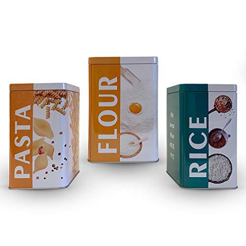 Envases para Alimentos, Botes de Cocina, Juego de 3 Piezas de recipientes para Almacenamiento, Tarro de Metal para, Arroz, Harina, Pasta Recipiente hermético con Tapas… (3 UNIDADES)