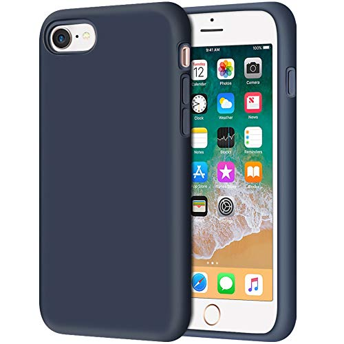 iPhone 8 Case, Anuck Non-Slip Liquid Silicone Gel Rubber Bumper Case with Soft Microfiber Lining Cushion Hard Shell Shockproof Full-Body Protective Case Cover for Apple iPhone 7/8 4.7' - Dark Blue