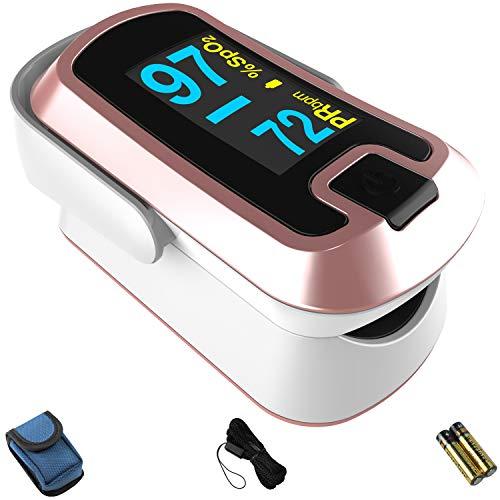mibest OLED Finger Pulse Oximeter, O2 Meter, Dual Color White/Rose Gold