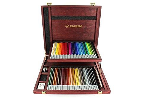 Crayon fusains pastel - STABILO CarbOthello - Coffret bois 60 crayons + taille-crayon + gomme spéciale + 1 estompe - Coloris assortis