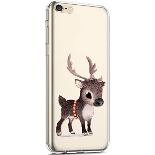 Carcasa de silicona para iPhone 6/6S, diseño de copo de nieve navideño