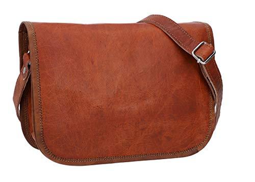 Gusti Umhängetasche Damen Leder - Taylor S für 9,7 Zoll Geräte Handtasche Tasche Ledertasche Braun