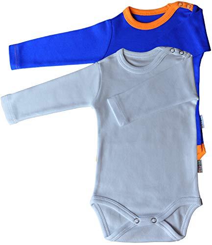 Unisex Baby Strampler Langarm 2er Pack Weiss & blau/orange Grösse 56 Body 100% Baumwolle Druckknöpfe