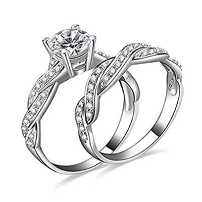 super1798 2 Pcs Women's 925 Sterling Silver Rhinestone Engagement Wedding Ring Set - US 8
