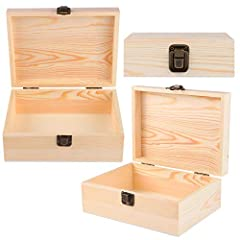 ADXCO 3 Pack Unfinished Wood Treasure Chest Decorative Wooden Box Pine Wood Box with Locking Clasp for Crafts, Art, Hobbies, Projects, Jewelry Box and Home Storage #2