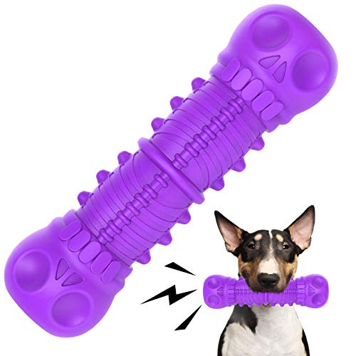 FRLEDM Dog Squeaky Toys- Toughest Natural Rubber-Dog Chew Toys for Aggressive Chewers, Almost Indestructible Tough Durable Dog Toys for Dogs-Teeth Cleaning Chews for Large/Medium Breed