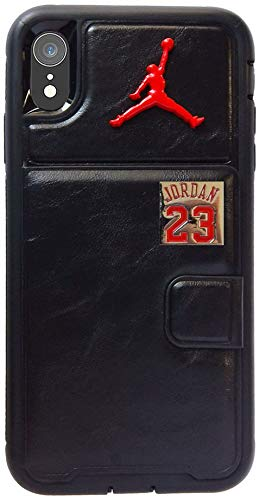 Bybee special Premium 3D Metal Jordan Hybrid Wallet Case & Double Bumper & Anti-Drop and Shockproof for iPhone XR (2018/6.1 inches) (Black/RED)