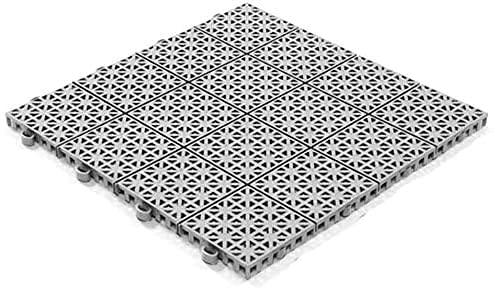 Stecksystem Kunststofffliesen Hestra Universa | Bodenfliesen Kunststoff | Bodenplatten | Klicksystem Fliesen | 11 Fliesen à 30 x 30 cm | hellgrau