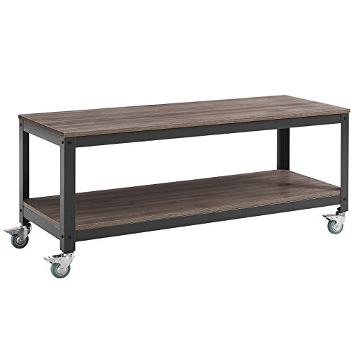 Modway Vivify Industrial Modern Two Tiered Serving Stand Rolling Cart in Gray Walnut