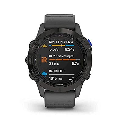 Garmin Fenix 6 Pro Solar Edition Slate Grey Rubber Strap Watch 010-02410-11
