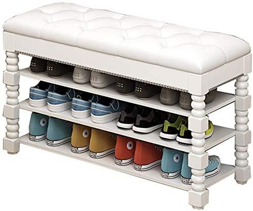 Zapatero PU tapizada Banco Con compartimento de almacenamiento de 3 armarios estante de madera sólida del zapato Banco Plataforma for el dormitorio, sala de estar, 120kg Corredor carga de peso