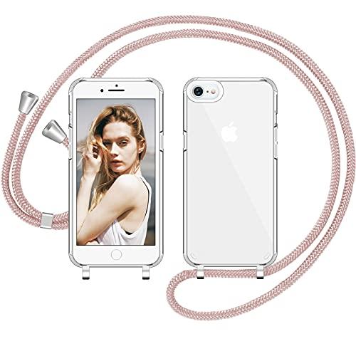 Nupcknn Funda Silicona Líquida con Cuerda para iPhone 7 iPhone 8 iPhone SE 2020, Carcasa Suave Silicona Case con Correa Colgante Ajustable Collar Correa de Cuello Cadena Cordón (Oro Rosa 1)
