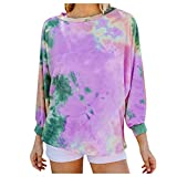 Weiliru Womens Tie Dye Print Long Sleeve Pullover Sweatshirts O Neck Sports Lounge Casual Shirts Tops
