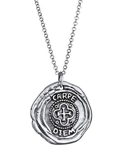 Kuzzoi Herren Silber-Halskette mit Münze Anhänger Rund (25 mm), Halskette für den Mann in 925 Sterling Silber, Geschwärzte Kette mit antiken Coin, Herrenkette Vintage Anhänger handgefertigt