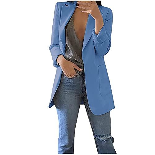 StarneA Traje de graduación para mujer, elegante blazer de un solo color, de manga larga, para negocios, oficina, chaqueta ajustada con bolsillo, informal, chaqueta de punto azul XXL