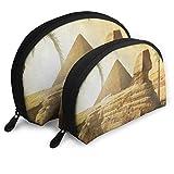 Bolsa de maquillaje Pirámide Egipcia Palmera Egipcia Cáscara portátil Estuche de maquillaje Para niñas Viaje Paquete de 2