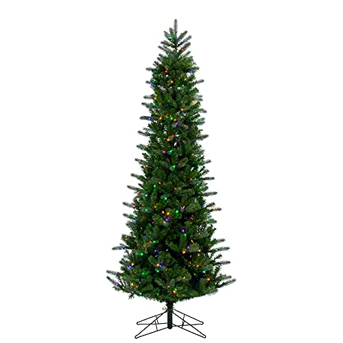 Vickerman 9' Carolina Pencil Spruce Artificial Christmas Tree, Multi-Colored Dura-LitLED Lights - Faux Christmas Tree - Seasonal Indoor Home Decor