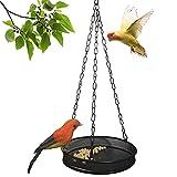Bird Feeder Hanging Tray, Platform Metal Mesh Seed Tray for Bird Feeders, Outdoor Garden Decoration for Wild Backyard Attracting Birds (Black)
