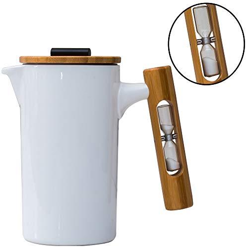 StramperPress| French Press coffee maker | HourGlass Timer| Coffee Press| (White, Ceramic)