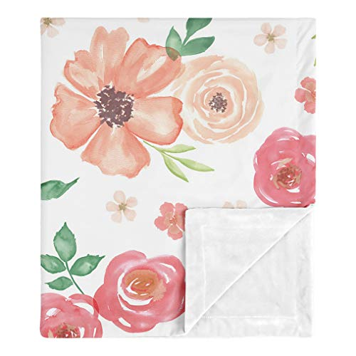 Sweet Jojo Designs Shabby Chic Pink Rose Flower Watercolor Floral Baby Girl Receiving Security Swaddle Blanket for Newborn or Toddler Nursery Car Seat Stroller Soft Minky - Peach and Green