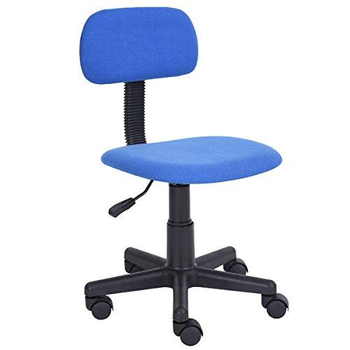 FurnitureR - Sedia da scrivania, per lavorare al computer in casa e in ufficio, con schienale intermedio, regolabile, con rotelle, ideale per lo studio dei bambini 50 (L) X 50 (W) X 76 (H) CM Blue