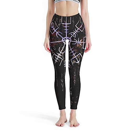 Vartanno Mujeres Viking Vegvisir Compass Leggings Soft Running Yoga Pantalones para gimnasio blanco 4xl
