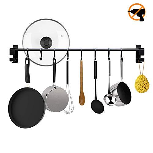KINLO Mattschwarz Küchen Stange für Küchenutensilien, Küchenleiste 60cm Hängeleiste mit 8 Hacken, Ohne Bohren Küchenreling Küchenhelfer Kochzubehör Tassenhalter Pfannehalter