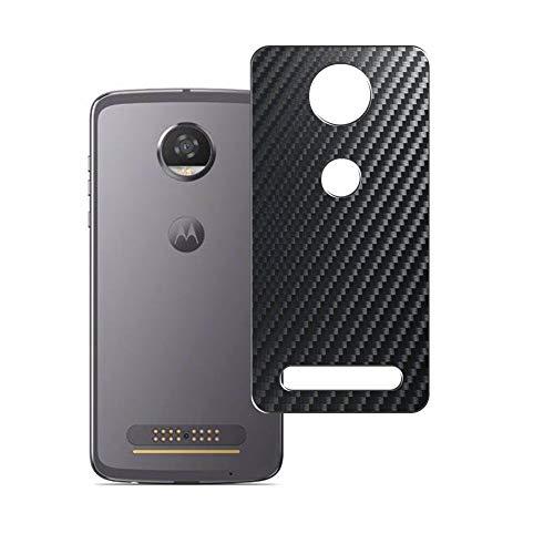 Vaxson 2 Stück Rückseite Schutzfolie, kompatibel mit Motorola Moto Z2 Play, Backcover Skin - Carbon Schwarz [nicht Panzerglas/nicht Front Displayschutzfolie]
