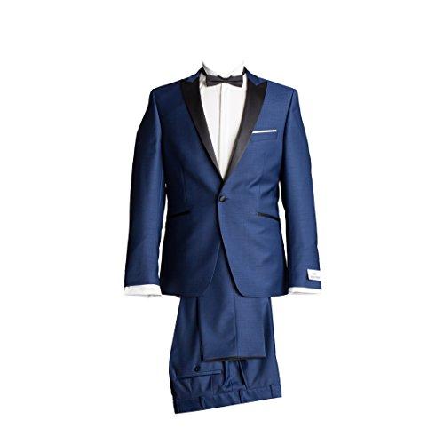 Wilvorst Anzug Smoking Sakko Smoking Hose ohne Bundfalte Mitternachtsblau Drop8 Extra Schmal Tailliert Geschnitten Runder Schalkragen 63% Wolle 26% Polyester 7% Polyamid 4% Elasthan 270g 98