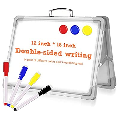 16 x 12 Inch Portable White Board, Magnetic Dry Erase Board, Foldable Small Double-Sided Desktop Whiteboard Easel for School, Home & Office