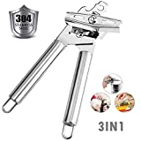Stainless Steel Manual Can Opener,Comfortable to grip, Handy Can Bottle Openers with Smooth Edge Knob,Ergonomically designed handle,Bottle/Tin/Jar Opener