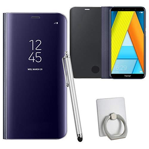 Guran® Spiegel Mirror Ledertasche Case für Honor 7A, Hohe Qualität Clear View Smartphone Flip Cover mit Stand Case Shell Handyhülle (Lila)