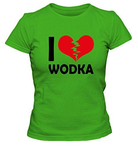 I Don't Love Wodka Shirts Fun Damen T-Shirt, Größe:S;Farbe:grün