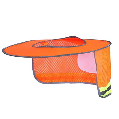 Casco de Verano al Aire Libre Sombrilla Protector Solar Transpirable Casco de Seguridad Sombra ala Completa Malla Cuello Cubierta Protectora Escudo Casco Sombra Naranja