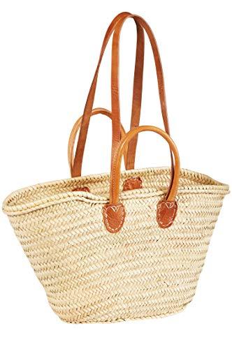 ORIGINAL Ibiza Tasche Korbtasche Strandtasche Cesta 55cm groß | Marokkanische Palmblatt Einkaufskorb Einkaufstasche geflochten XXL | Natur Shopper Umhängetasche Strohtasche für Damen und Herren