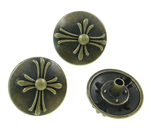 10Sets Antique Brass Round Celtic Cross Rivet Leather Concho RV087