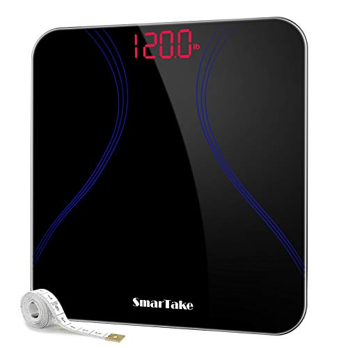 SMARTAKE Weight Scale, Precision Body Bathroom Scale, Digital Electronic Scale with Step-On Technology, 6mm Tempered Glass Easy Read Backlit LED Display, Body Tape Measure Included, 400 Pounds, Black
