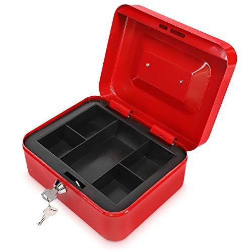 Navaris Caja fuerte para dinero - Organizador de efectivo con cerradura y compartimento interior - Para billetes monedas documentos con dos llaves