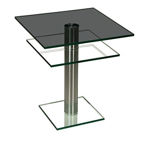 Darwin2291-A tischdesign24 Ecktisch mit 12mm Glasplatte. Mittelsäule in 80mm rund Chrom gebürstet und versiegelt. Bodenplatte Klarglas, Tischplatte Parsolglas mit Ablage Größe: 60 x 60 cm Quadratisch