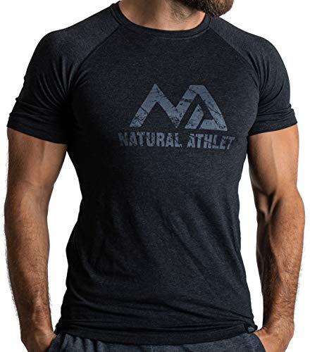 Herren Fitness T-Shirt meliert - Männer Kurzarm Shirt für Gym & Training - Passform Slim-Fit, lang mit Rundhals, Schwarz, L