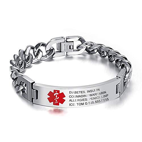 7.5 to 9.5 Inches Free Engrave Emergency Medical Bracelets for Men Women Alert ID Bracelets for Adults Titanium Steel Medical Alert Bracelets for Women (Silver-9.5 inches for men)