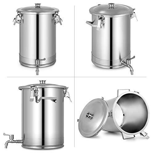 Olibelle Cuve de Fermentation en Acier Inoxydable avec Robinet Fermentation du Vin et De La Bière Usage Professionnel ou Domestique (28L)