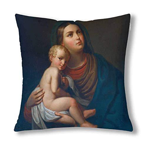 EQGSMYLX Funda de cojín de la Santísima Virgen María con el niño Jesús Funda de Almohada con 18x18 Pulgadas, Funda de Almohada con Cremallera para la decoración del sofá del Dormitorio