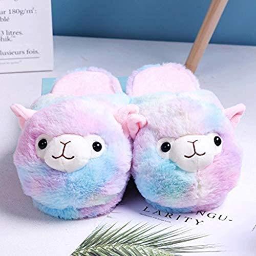 HEWE Encantador arco iris Alpaca Llama de felpa para interior cálido invierno zapatos para adultos dibujos animados lindo anime para niños niñas amantes colorido (color: colorido) (color: colorido)