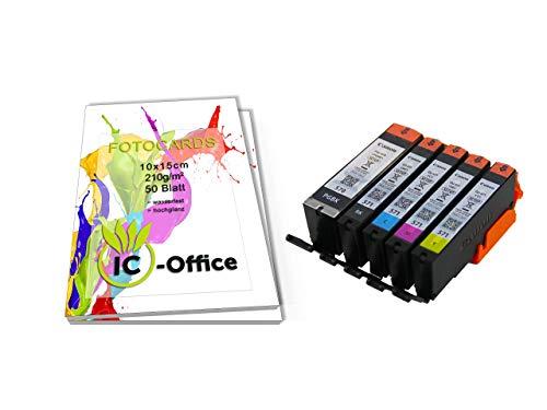 Originale Setup Canon PGI570 CLI571 PGI-570 CLI-571 Cartucce di Inchiostro Set Pixma Stampante Con IC-Office Fotocards Carta da Foto 210g/M² 10x15 CM Bianco Brillante - 5er Set, 100 Fogli